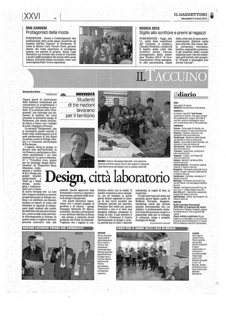DesWeek2013- Gazzettino